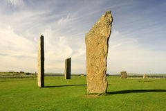Stenness, Neolithic standing stones, Orkney. The neolithic stones at Stenness, on the main island of Orkney, are a World heritage site. These four stones are the Royalty Free Stock Photography