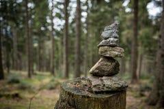 Stenpyramid i nationell bayersk skog royaltyfri fotografi