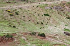 Stenras på backen i kartbokberg, Marocko Royaltyfri Bild