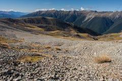 Stenras på lutningar i Nelson Lakes National Park Arkivfoton