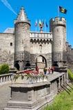 Stenslott i Antwerp, Belgien Arkivfoto