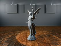 Stenstatyflicka-ängel med en fackla arkivfoto