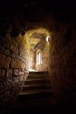 Stentrappa till fönstret i slott Royaltyfria Bilder