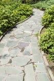 Stenväg i trädgården Royaltyfri Fotografi