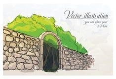 Stenvägg i en trädgård. Vattenfärgefterföljd. Arkivfoton