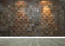 Stenvägg med två strålkastare och det gråa trägolvet arkivbild