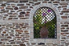 Stenvägg och fönster med blomman på lerakrukan arkivfoton