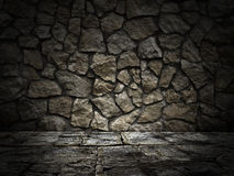 Stenvägg och golv abstrakt svart bakgrund Royaltyfria Bilder