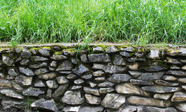 stenvägg och gräs Arkivfoto