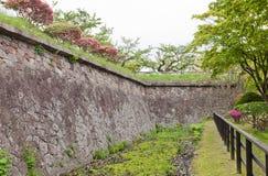Stenväggar av det Goryokaku fortet i Hakodate, Japan Arkivfoto