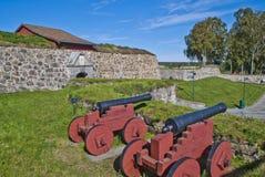 Stenväggar på fredriksten fästningen Royaltyfri Bild