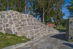 Stenväggar på fredriksten fästningen halden in Royaltyfri Bild