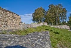 Stenväggar på fredriksten fästningen halden in Arkivbilder