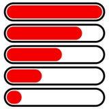 5-step прогресс, бары нагрузки в последовательности Шаг, участок, уровень, comp Стоковое Фото