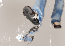 Step on it. A person stepping out into space Royalty Free Stock Photography