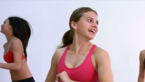 Step Aerobic girls. Tops. Slow motion stock footage