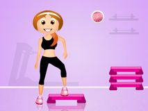 Step aerobic. Illustration of step aerobic in the gym Royalty Free Stock Photos