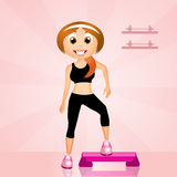 Step aerobic. Illustration of step aerobic in the gym Stock Photos