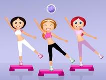 Step aerobic. Illustration of step aerobic workout Stock Photo
