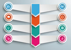 4 Step Arrows Double Banners Circles. Arrows with wings and circles the gray background Stock Illustration