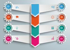 4 Step Arrows Double Banners Gears Stock Image