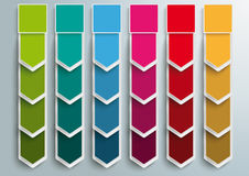 6 Step Arrows Oblong Banners. Oblong banners 6 options on the gray background Stock Images