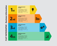 4 step business infographic. Illustration of a 4 step infographic with different business icons royalty free stock photo