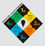 4 Step Business Infographic with a Lightbulb Stock Photography