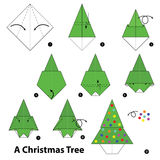 Step byStep instructions how to make origami A Christmas Tree. Stock Image