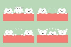 Step of caries to first teeth. Tooth cartoon vector flat style for design - step of caries to first teeth, dental care concept Royalty Free Stock Photos