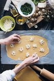 Step by step the chef prepares ravioli with ricotta cheese, yolks quail eggs and spinach with spices. The chef prepares the fillin. G on the dough Royalty Free Stock Photography
