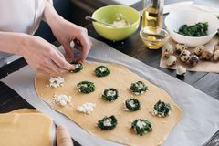 Step by step the chef prepares ravioli with ricotta cheese, yolks quail eggs and spinach with spices. The chef prepares the fillin. G on the dough Royalty Free Stock Image