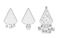 Step of chopping timber by axe make Christmas Tree concept idea. Outline stroke design illustration black and white color  on white background, vector eps10 Royalty Free Stock Image