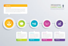 5 step circle timeline infographic options template with paper s. Heets. Vector abstract element can be used for business workflow layout, diagram, web design royalty free illustration