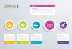 5 step circle timeline infographic options template with paper s. Heets. Vector abstract element can be used for business workflow layout, diagram, web design stock illustration