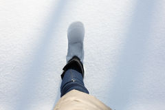 A step in a deep snow Stock Images