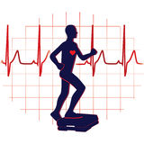 Step exercise icon. Step ups exercise and heart graph icon vector illustration Stock Images