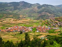 Step farming and houses in a village in a hilly region, India