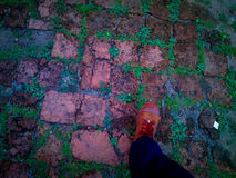 Step on a foot path. Stepping on a ancient remain floor Royalty Free Stock Photography