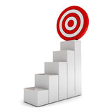 Step graph with goal target business concept Royalty Free Stock Photo