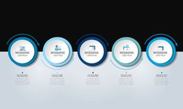 5 step Infographic. Circles with arrows. Template, diagram, graph, milestone, chart or presentation or infograph Royalty Free Illustration