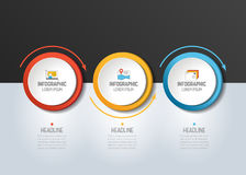 3 step Infographic. Circles with arrows. Template, diagram, graph, chart, presentation or infograph stock illustration