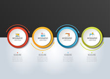 4 step Infographic. Circles with arrows. Template, diagram, graph, milestone, chart or presentation or infograph Stock Illustration