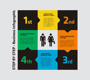 4 Step Infographic. 4 Step Square Infographic with businessman and businesswoman in the center Stock Photography