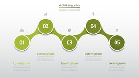 Step by step infographic. Step by step infographic template. Presentation slide with 5 numbers can be used for workflow layout, diagram, chart, number options Stock Photo