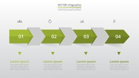 Step by step infographic. Step by step infographic template. Presentation slide with 4 numbers can be used for workflow layout, diagram, chart, number options Stock Illustration