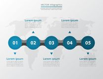 Step by step infographic. Timeline template with 5 numbers can be used for workflow layout, diagram, chart, number options, web design, business presentation Stock Images