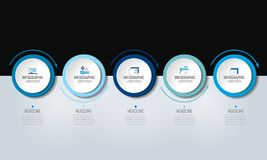 5 step Infographic. Vector illustration. 5 step Infographic. Circles with arrows. Template, diagram, graph, milestone, chart orpresentation or infograph royalty free illustration