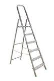 Step-ladder. Aluminium dirty step-ladder, it is isolated on a white background Stock Photography