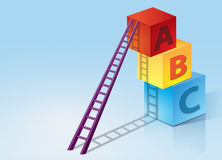 Learning Development with Boxes and Ladder. Three color ABC boxes which are red, blue and yellow are stack up with purple steps ladder. Concepts of business vector illustration